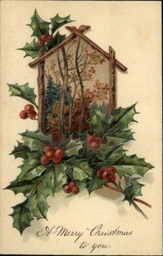 PFB Christmas Holly Berries Embossed Old Greeting c1910 Postcard