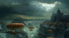 Fantasy steampunk airship port city with waterfall for classic steampunk concept art environment inspiration ideas 1 080 pixels Diesel Punk, Fantasy City, Fantasy Castle, Fantasy World, Final Fantasy, Dream Fantasy, High Fantasy, Art Steampunk, Steampunk Airship