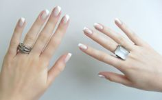 white slant tip french style nails
