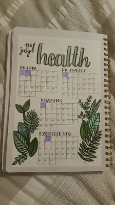 Monitor your health with your bullet journal. Here's an example. Plus 100 more BuJo page ideas in this post! Monitor your health with your bullet journal. Here's an example. Plus 100 more BuJo page ideas in this post! Bullet Journal Tracker, Bullet Journal Inspo, Bullet Journal Mise En Page, List Of Bullet Journal Pages, Bullet Journal Writing, Bullet Journal Aesthetic, Bullet Journal Spread, Bullet Journals, Bullet Journal Health