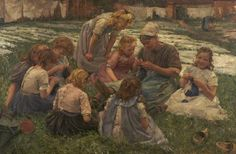 The Knitting Lesson  by Pierre Jacques Dierckx