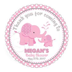 """Custom cute pink Elephant Baby Shower Thank you Printable 2.5"""" Tags-Personalized Baby Elephant thank you 2.5 inches Tags- baby Shower Stickers DIY Birthday Favor Tags"""