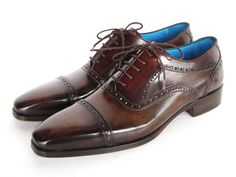 MEN'S CAPTOE OXFORDS ANTHRACITE BROWN HAND-PAINTED LEATHER