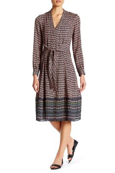 Marguax Faux Wrap Silk Dress