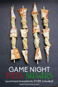 Game Night Pizza and Breadstick Skewers with #tonyspizzeria (AWESOME breadstick recipe here) #ad #PMedia