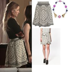 On Serena: Derek Lam Print Skirt, MCL by Matthew Campbell Laurenza Conch Shell Necklace