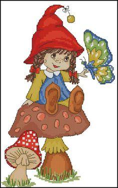 0 lutin fille sur un champignon - girl sprite on a mushroom Santa Cross Stitch, Cross Stitch Fairy, Cross Stitch For Kids, Cross Stitching, Cross Stitch Embroidery, Cross Stitch Designs, Cross Stitch Patterns, Gemini Sign, Fantasy Figures