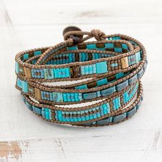 Glass beaded wrap bracelet, 'Traditional Style' - Colorful Glass Beaded Wrap Bracelet from Guatemala Fall Jewelry, I Love Jewelry, Bohemian Jewelry, Jewelry Making, Jewelry Ideas, Jewlery, Boho, Beaded Bracelets Tutorial, Beaded Wrap Bracelets