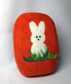 Large felted soap Peeps bunny Easter bunny needle felted bar soap