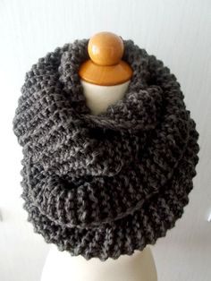 Christmas Gift for Her Chunky Cowl Circle Scarf Shoulder Warmer Hand knitted in Dark Brown for Men Women Soft and Warm Winter Accessory Knitting Patterns Free, Hand Knitting, Hat Patterns, Knitting Ideas, Fancy Buttons, Fingerless Gloves Knitted, Fall Scarves, Wrist Warmers, Circle Scarf