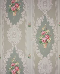 1940's Vintage Wallpaper Baskets of Pink and by RosiesWallpaper