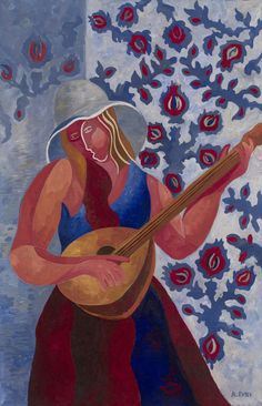 hipinuff:  Alexandra Exter (Russian, 1882-1949), Girl with a Mandolin. Oil and tempera on canvas, 91.5 by 60 cm.