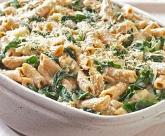 Vegetarian pasta bake with spinach