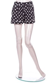 Black Girly High Waist Shorts in Retro Inspired Polka Dots and Flouncy Loose Fit (FREE SHIPPING)