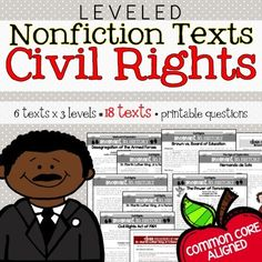 Civil Rights Nonfiction Leveled Texts, Common Core Questions, Key from The Sweetest Thing on TeachersNotebook.com - (82 pages) - Trying to integrate Social Studies with ELA? This text set is perfect for use within the Social Studies context or integrated into ELA during guided reading groups! Common Core questions included!