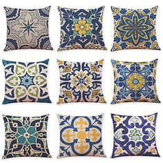 Cheap Throw Pillow Covers, Pillow Covers Online, Throw Pillow Cases, Decorative Pillow Covers, Sofa Cushion Covers, Cushions On Sofa, Blue And White Fabric, Traditional Pillows, Sofa Couch Bed