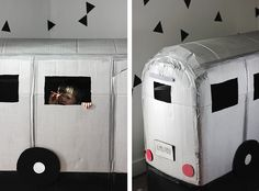 DIY Cardboard Camper Playhouse @themerrythought