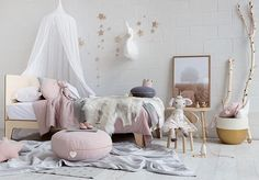 Oh how this room sets my heart a flutter Beautiful styling by @melplambeck in collaboration with @littleconnoisseur featuring a range of gorgeous products #vanessabyrne swan wall bust, #numero74 canopy and glitter hanging stars can also be shopped online.  @melplambeck #petitejoliekids #nurserygoals #nurserydesign #nurseryinspo #nurserydecor #nursery #kids #kidsstyle #kidsdecor #kidsroom #kidsinteriors