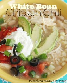 This is my favorite soup of all time! #chickenchili #recipe #lowfat