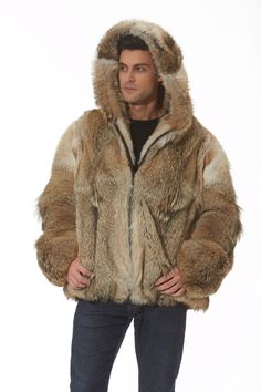 Ruggedly handsome, this hooded coyote jacket gives you the natural colors of the outdoors,lending you a warmth that will make you look forward to those bone Fur Jacket Mens, Fox Fur Jacket, Mens Fur, Mens Winter Fashion Jackets, Winter Outfits Men, Outfit Winter, Winter Clothes, Fall Outfits, Coyote Fur Coat