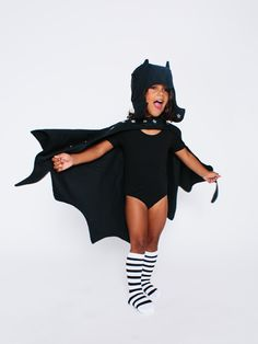 Bat Wings and Hat Kid's Halloween Costume June & January Leotard, Knee High Socks + Lovelane Designs Cape and Hat