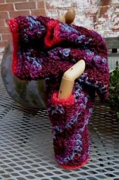 Hand-dyed and hand-crocheted fingerless mitts