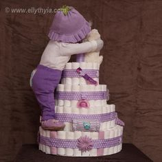 Purple Owl and Baby Girl Diaper Cake - Toronto Diaper Cakes and Baby Gifts