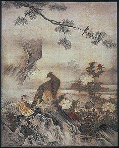 狩野元信は狩野永徳のおじいちゃんです KANO-Motonobu-Daisen-in-1-L - 狩野元信 - Wikipedia Japan Art, Four Seasons, Birds, Japanese, Drawings, Flowers, Painting, Animals, Art