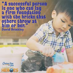 """From Chicken Soup for the Soul: Think Positive for Kids My Abilities  """"I once had a blind friend in elementary school named Easton. I remember one day when I asked him, """"Easton, if they came up with a way to cure blindness, would you want to get your blindness cured?"""""""