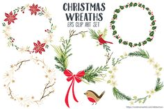 Christmas Wreaths Clipart Vector EPS by Trinket Allsorts on @creativemarket