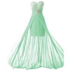 Queensroyal Chiffon Long Sexy Strapless Beaded Prom Evening Gowns with ❤ liked on Polyvore featuring dresses, gowns, green gown, long gowns, prom dresses, sexy evening gowns and sexy evening dresses