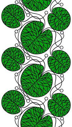 Marimekko 'Bottna' fabric wall art in green, black and white Motifs Textiles, Textile Patterns, Textile Design, Fabric Design, Pattern Design, Print Patterns, Nail Patterns, Quilting Patterns, Fabric Wall Art