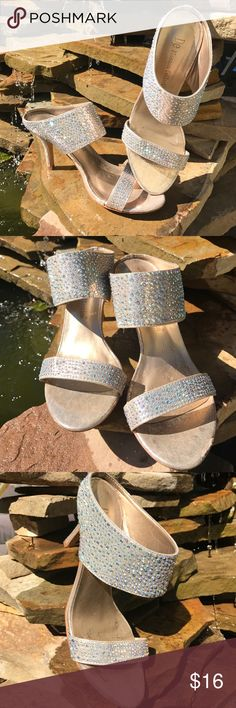 DE Blossom Collection Bling heels 7 Iridescent bling, good condition aside from scuff on left front--see pic, 3 inch heel DE Blossom Collection  Shoes Heels