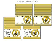 Free Bumble Bee printable thank you and menu or place cards #bumblebee #freeprintables