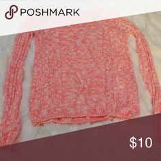 Pink and white sweater Bright pink and white cable knit sweater Charlotte Russe Sweaters
