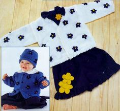 PDF Digital Vintage Knitting Pattern Baby Childs Flower Cardigans with Hats 2 Necklines in Double Knit £1