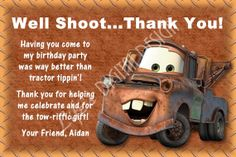 Disney Cars Mater Thank You Card Photo by lifesdigitaldesigns, $10.00