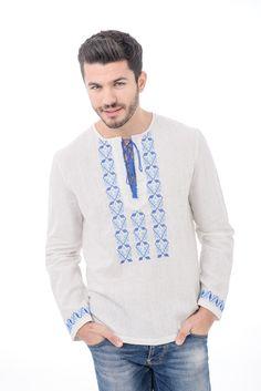 Bluza romaneasca traditionala  barbateasca din in, brodata 100% manual cu fir albastru de bumbac.