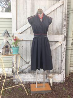 1980s black cotton day dress 80s culottes size medium Vintage cap sleeve jumpsuit by melsvanity on Etsy