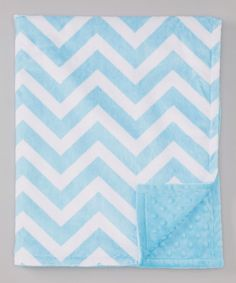 Take a look at this Turquoise & White Zigzag Minky Stroller Blanket by The Minky Boutique on #zulily today!