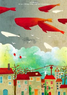 houses w/stormy sky Graphic Design Illustration, Illustration Art, Picture Frame Decor, Whale Art, Vladimir Kush, Sea Art, Illustrations, Whimsical Art, Painting For Kids