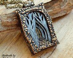 Fantasy necklace Fantasy pendant Fantasy jewelry Fairytale necklace Fairytale pendant Tree necklace Large necklace Tree pendant