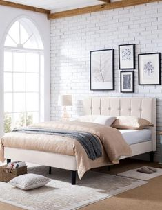Modern Fully-upholstered Platform Bed Queen Size Platform Bed, Platform Bed Frame, Beautiful Bedrooms For Couples, Grey Upholstered Bed, California King Mattress, Bed Frame And Headboard, One Bed, Queen Size Bedding, Profile