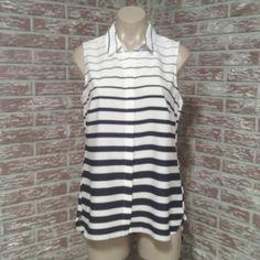 Striped button down sleeveless shirt Dark Blue and White button down. Dress Barn Tops Button Down Shirts