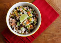 Fiesta Lime Rice | Skinnytaste. Great side dish for enchiladas, stuffed peppers, baked tacquitos...