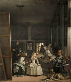"""""""Las Meninas"""" by Diego Velázquez, c. Velázquez was the leading artist of the Spanish Golden Age. The painting is on display at the Museo del Prado. Note: the man on the left side of the painting is the artist himself Most Famous Paintings, Great Paintings, Dog Paintings, Famous Artists, Classic Paintings, Portrait Paintings, Portrait Art, Art Espagnole, Diego Velazquez"""