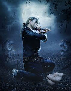 This could be Nicolas from book, The Vampire Lestat. dlg -  Gothic Man artwork/ Man with violin/Gothic by EnchantedWhispersArt