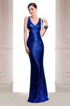 Trumpet V-neck Floor Length Sequined Prom Dress in Royal Blue