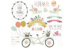 Wedding Floral Vintage Bicycles by YenzArtHaut on Creative Market