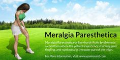 Meralgia Paresthetica or Bernhardt-Roth Syndrome Know Its Causes Symptoms Treatment Exercises Signs Investigations possible Risk factors Etiology. Leg Pain, Back Pain, Nerve Conduction Study, Sacroiliac Joint Dysfunction, Hatha Yoga Poses, Diabetes Information, Body Issues, Diabetes Treatment, Nerve Pain